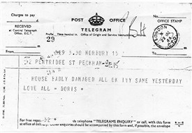 Photo:This telegram was sent the following day on June 22nd 1944. It reads as follows; House badly damaged All ok Ivy same yesterday love all Doris