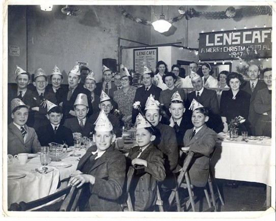 Photo:Christmas party in Len's Cafe, all the newsagent staff 1947. Phillip Newell, row nearest camera fourth left to right