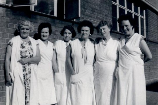 Photo:The Muschamp Road Laundry Ladies around the 1960's. Mrs Clare Moore is 3rd from the left.
