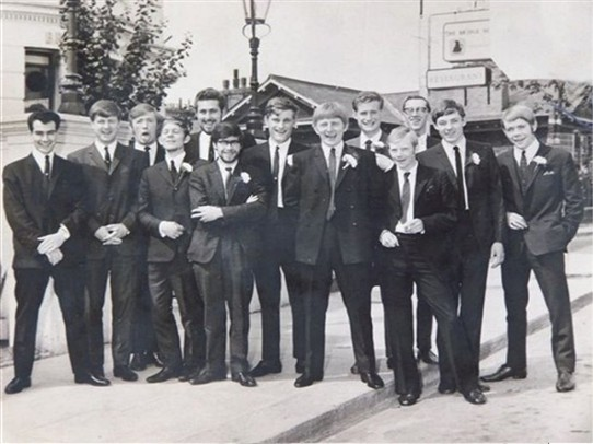 Photo:Peter Bird's wedding day. He is pictured with his fellow scouts from the Morden group.