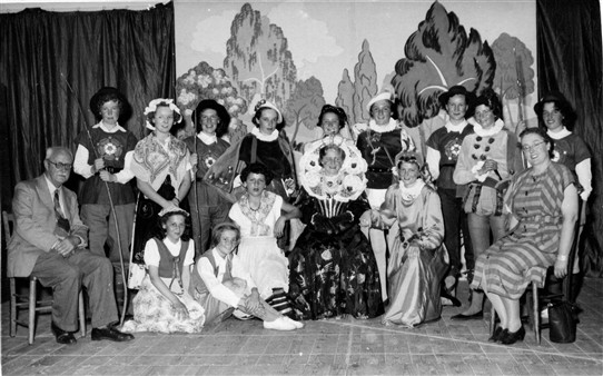 Photo:The main cast of the play with two members of the School Board, Mr. Fry and the lady, name unknown