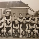 Photo:Reigate Avenue Football Club - Glastonbury School in 1954 This is the Football Team taken outside Glastonbury Junior School in 1954. They were called Reigate Avenue Football Club that was organised at the Youth Club run by Miss Duffy. Some boys in the photo are Peter Skidmore, Brian Ransted (Goal Keeper), ? Wing, Alan Draper, Roy Radford, Reggie Norris, Whipper Capel (Tony).  If anyone can identify the remainder, we would be pleased to know. Brian and Joan (nee Leedham) Ransted