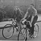 Photo:Kathleen Millington and friend cycling in Bodmin Grove c. 1949.