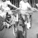 "Photo:Tina Goodall ""Tiny"" and her brother David""Dibby on their bikes in Love Lane Park 1957"