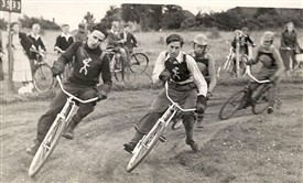 Photo:Cycling on a Makeshift Track
