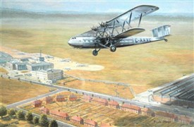Photo:A5CA6 Frank Sturges c.1980s - Handley Page 'Heracles' over Croydon Airport, Watercolour