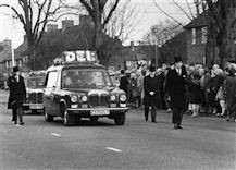 Photo:The funeral of Corporal Derek Tony Wood killed by the IRA 19th March 1988. Tony Smith leading the cortege